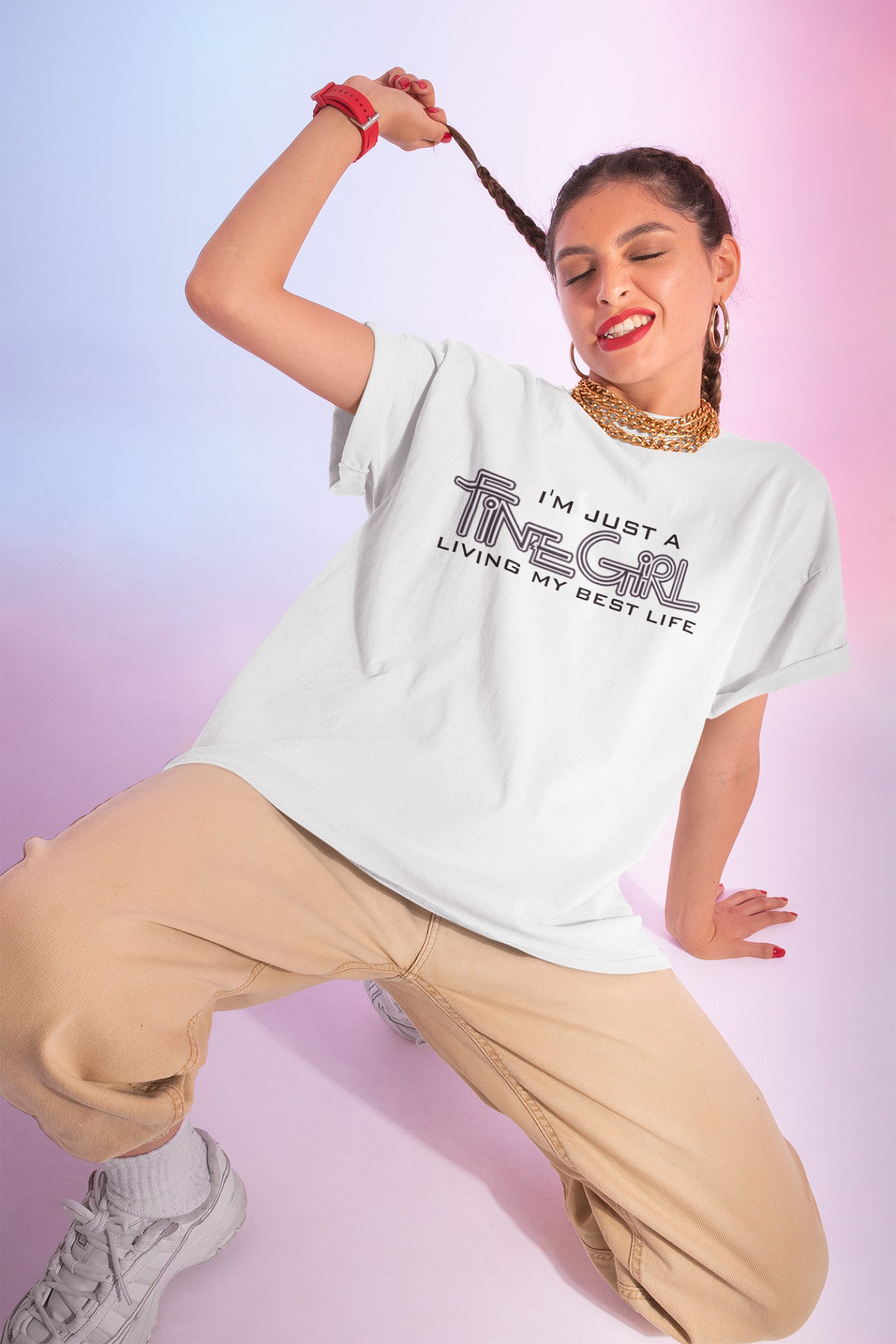 Positive Affirmation T-shirt.... I am a Fine  Girl living my best life.