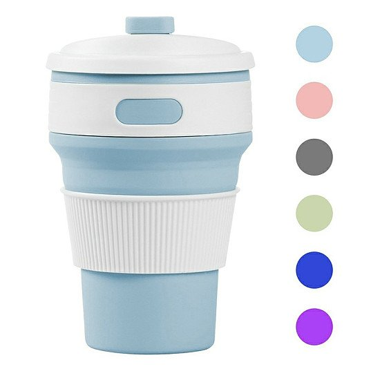 Collapsible Silicone Telescopic Water Bottle Foldable Portable Leakproof Cup Light Blue