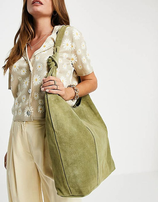 ASOS DESIGN khaki suede slouchy tote with strap detail current price - £38.00!