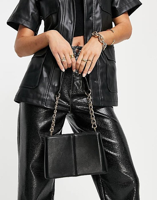 ASOS DESIGN mini tote bag in black with chain strap current price - £20.00!