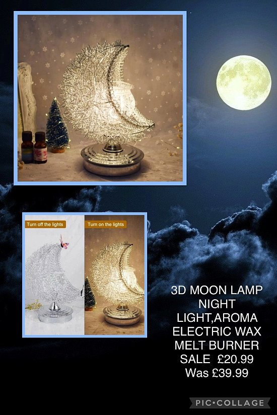 3D MOON LAMP NIGHT LIGHT,AROMA ELECTRIC WAX MELT BURNER