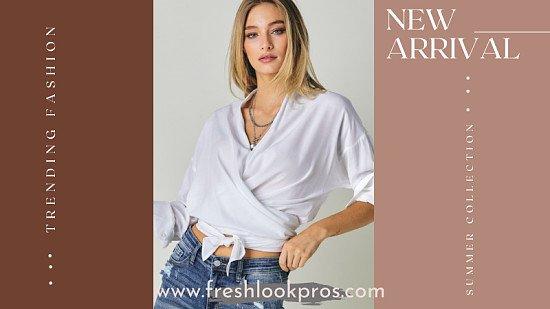 Freshlookpros V-Neck Long Sleeve Wrap Top