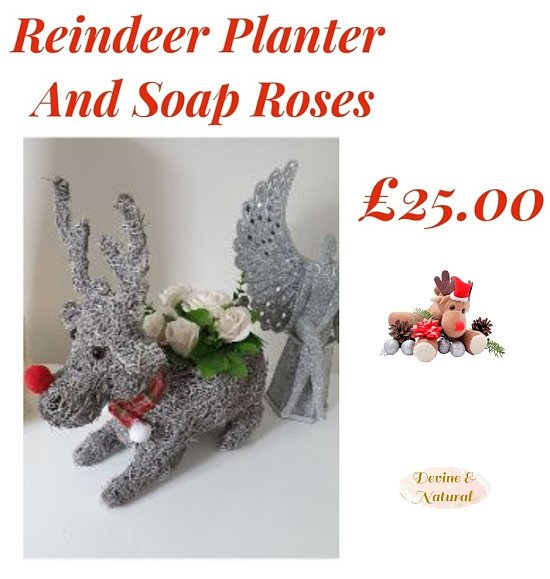 🎅Reindeer Planter With Soap Roses🎅