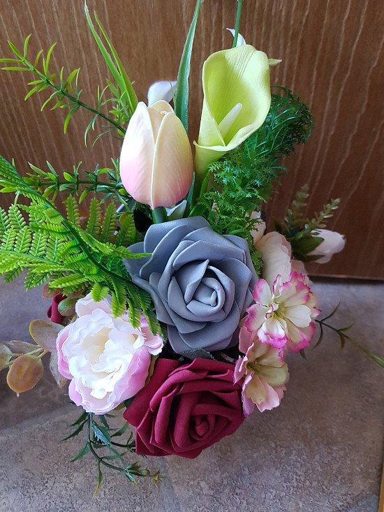 Silk flower arrangement upcycled hand made