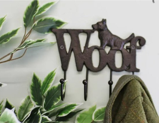 Rustic Cast Iron Wall Hooks, Dog Design With 4 Hooks