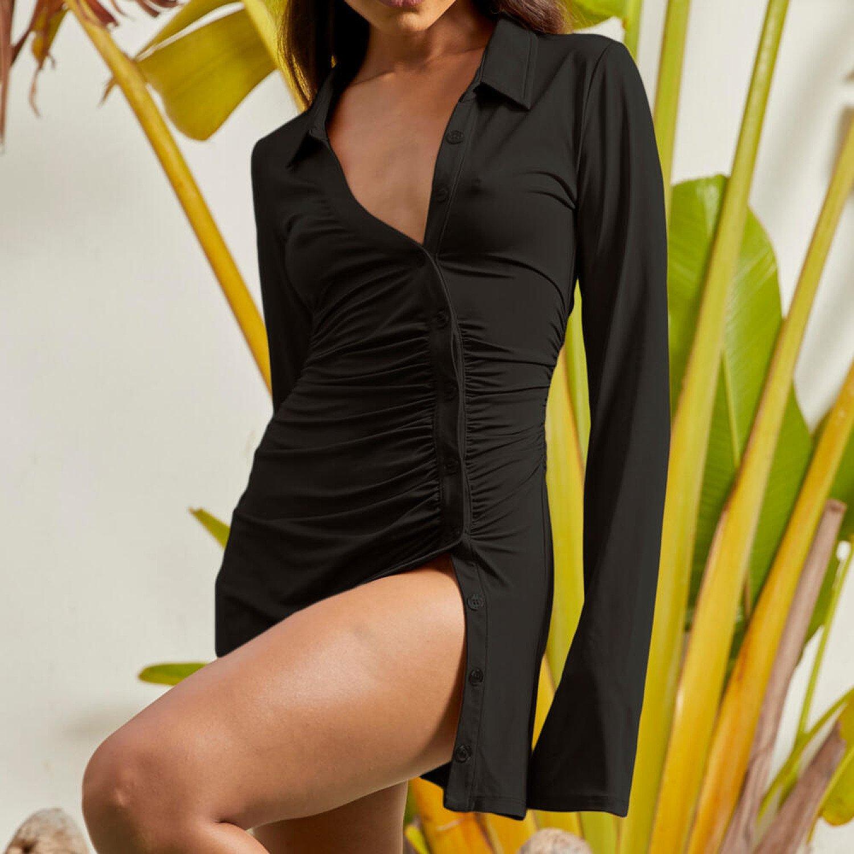 SAVE - Ruched Detail Mini Shirt Dress in Black
