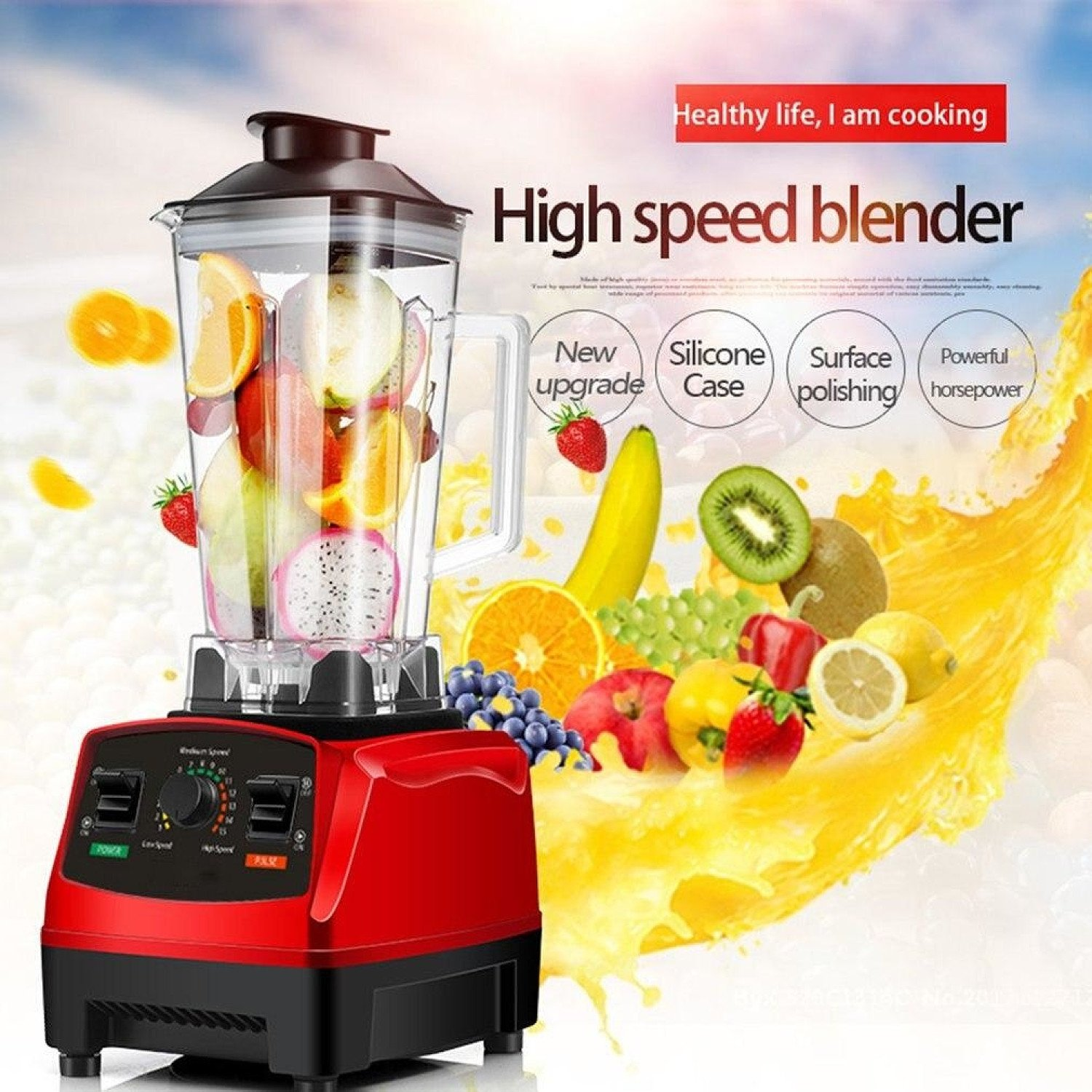 2200 W High Speed Blender Mixer with 8 Blade Fruit Juicer Food Processor Ice Crusher Smoothie