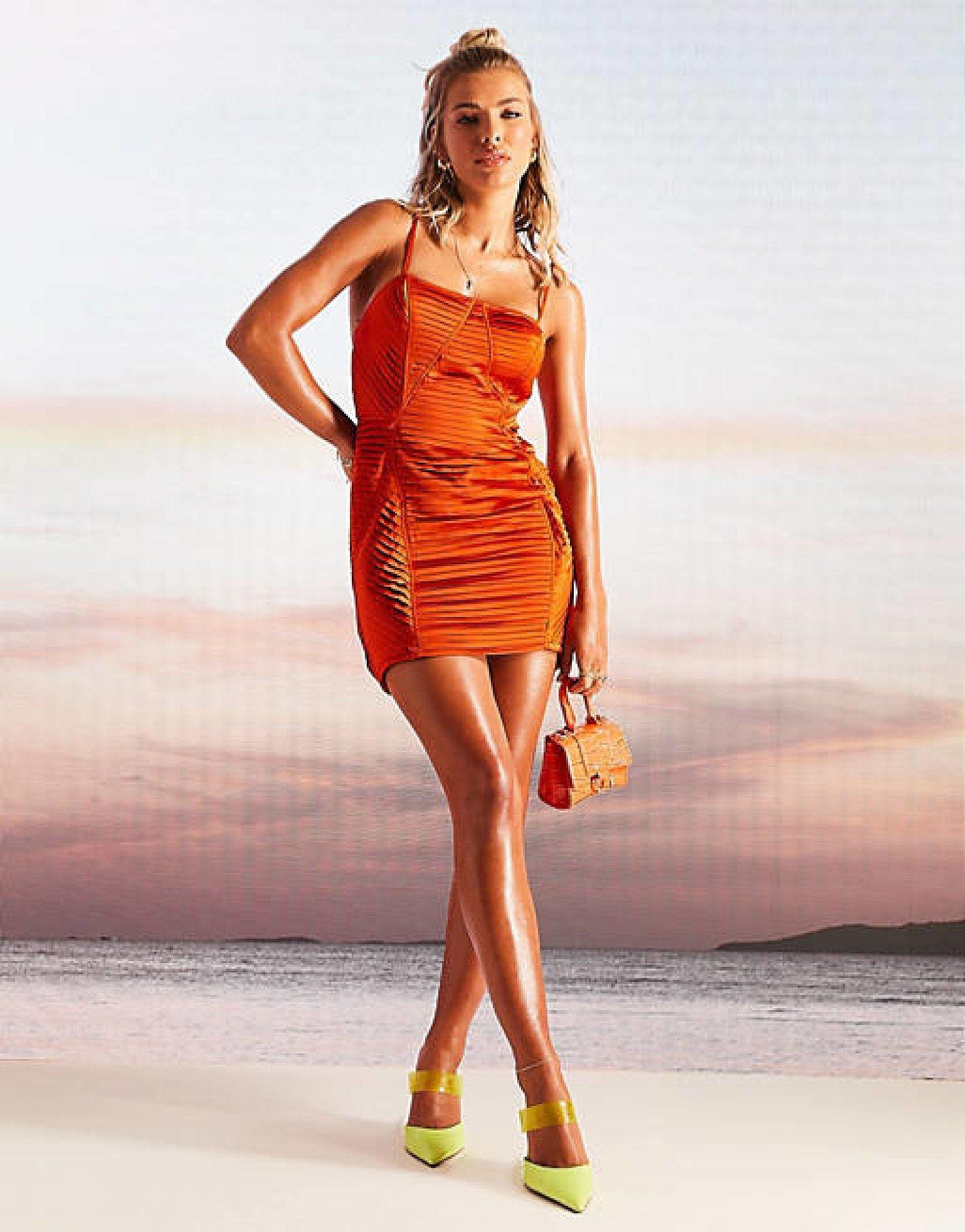 ASOS DESIGN Premium satin pleated mini dress in orange current price - £55.00