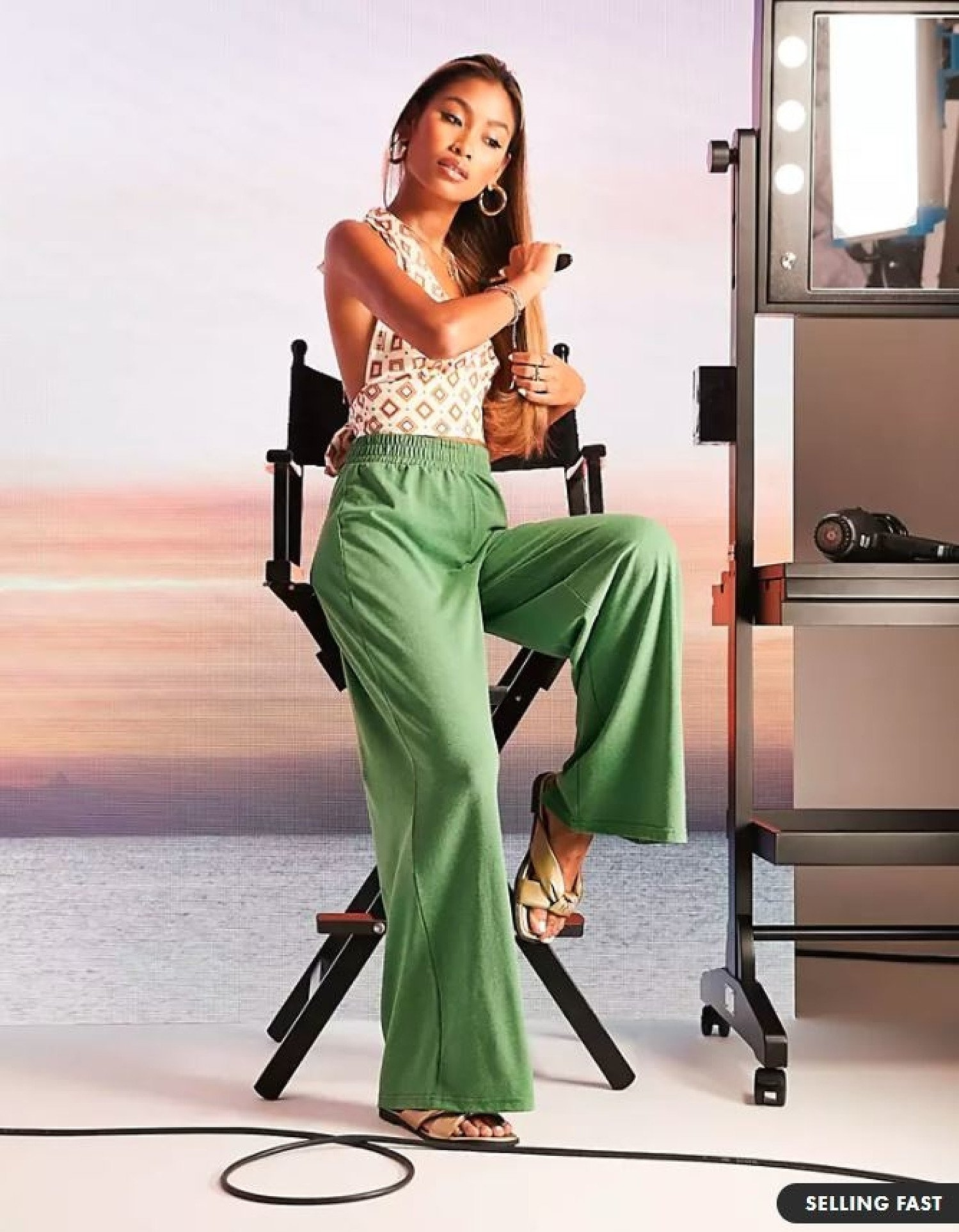 ASOS DESIGN jersey wide leg trouser in paradise green marl current price - £20.00!