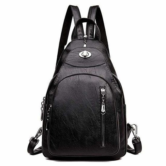 Women's Leather Chest Bags for Women Large Capacity School Backpack