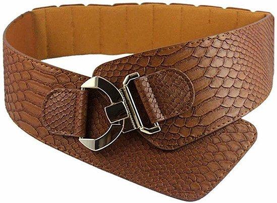 Premium Quality Women's Snake Pattern Belt Wide Elastic Stretch Adjustable Dress Waist Cinch Belt
