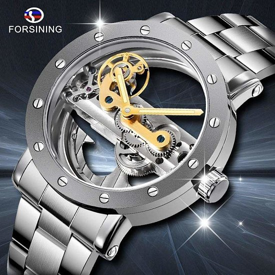 Men Skeleton Automatic Mechanical Watches Forsining Men Double Side Transparent Stainless Steel