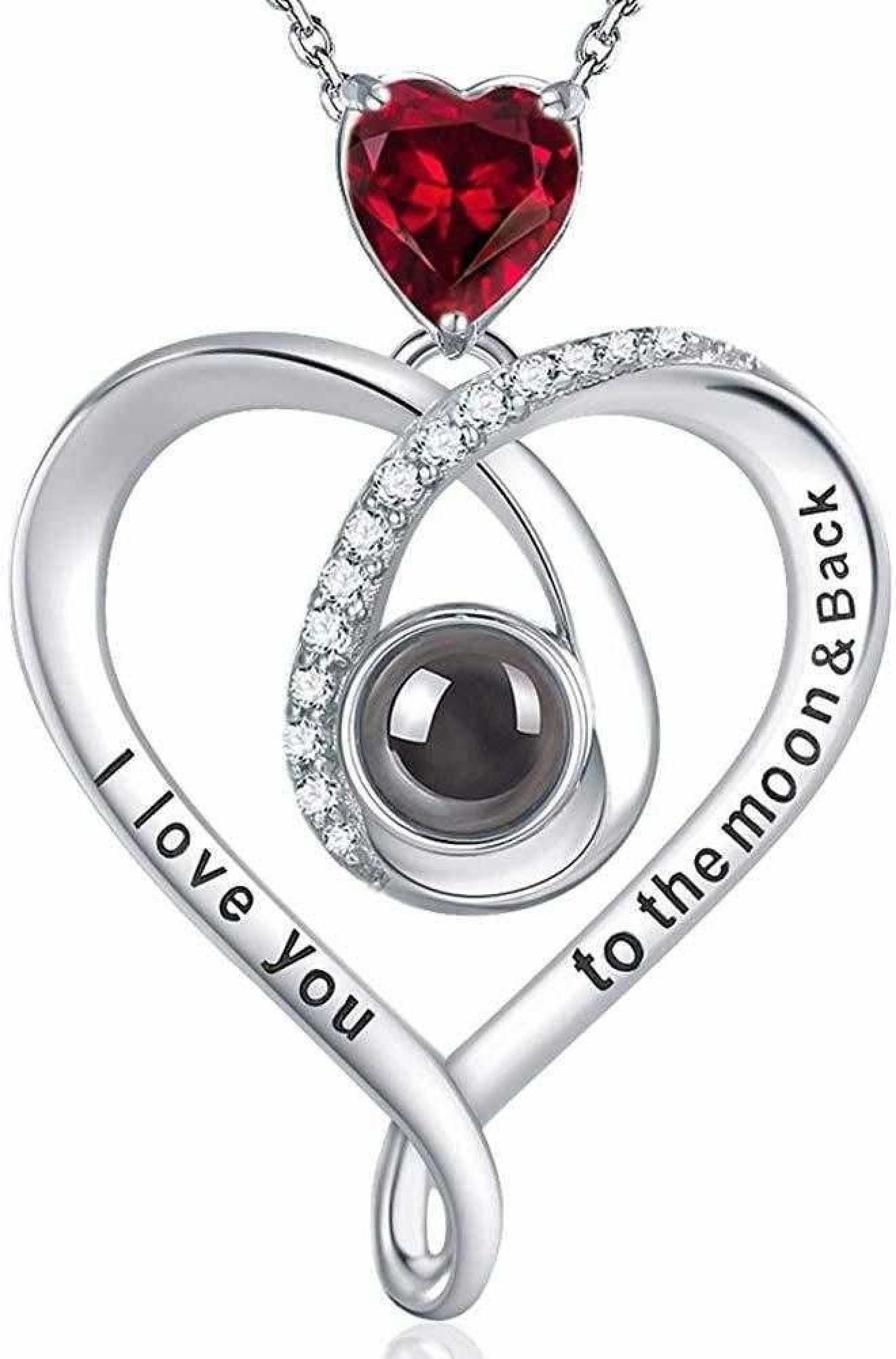 I Love You Necklace 100 Languages January Birthstone LC Garnet