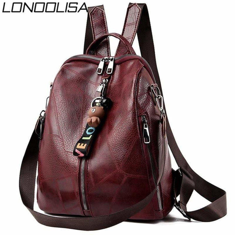 Multifunction Retro Backpack Women Bagpack Leather School Bags For Teenage Girls Shoulder Bags