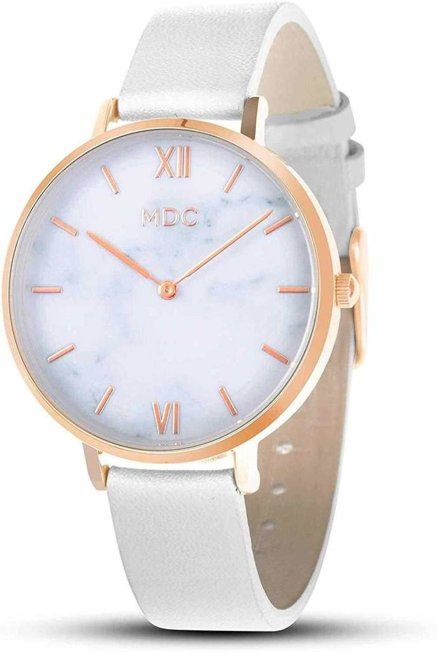 MDC Ladies Minimalist Ultra Thin Wrist Watches Black Starry Sky/White Marble Face Leather Strap