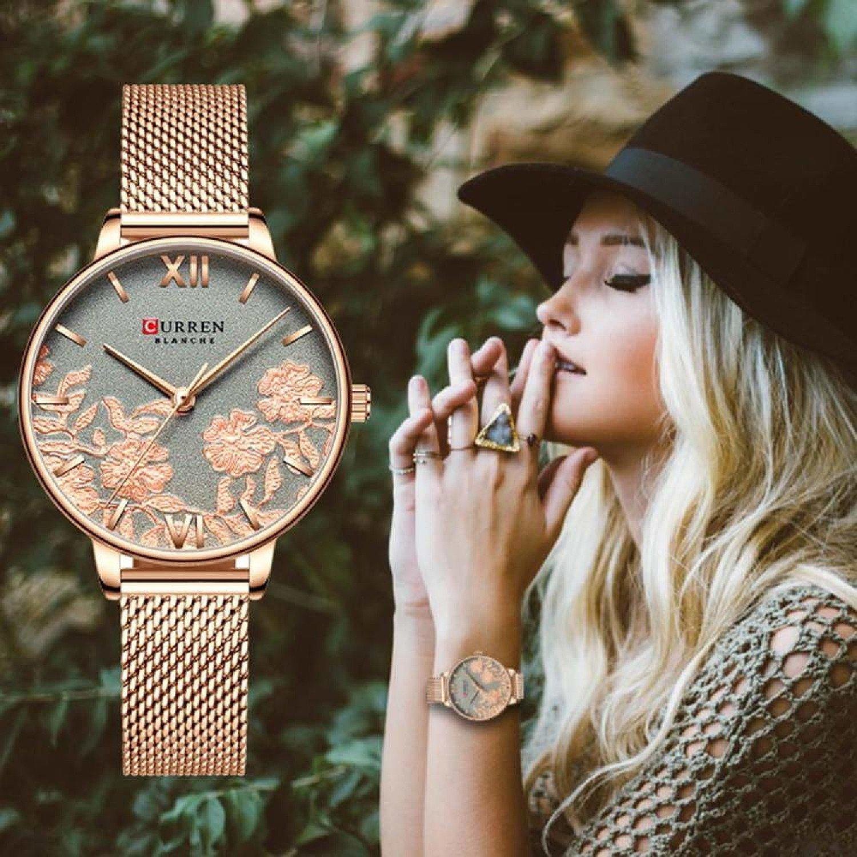 New Fashion Simple Women Watch Flower Stainless Steel Glassy Quartz Ladies Wristwatch Casual