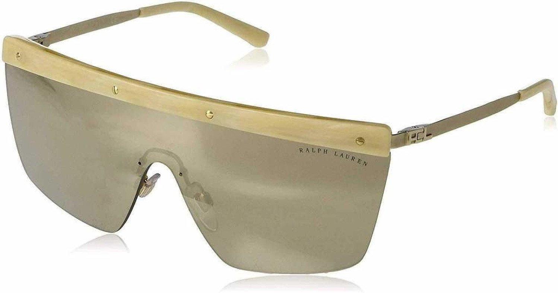 Ralph Lauren Women's 0RL7056 91696G 40 Sunglasses, Matte Light Gold/Supermirrorgold