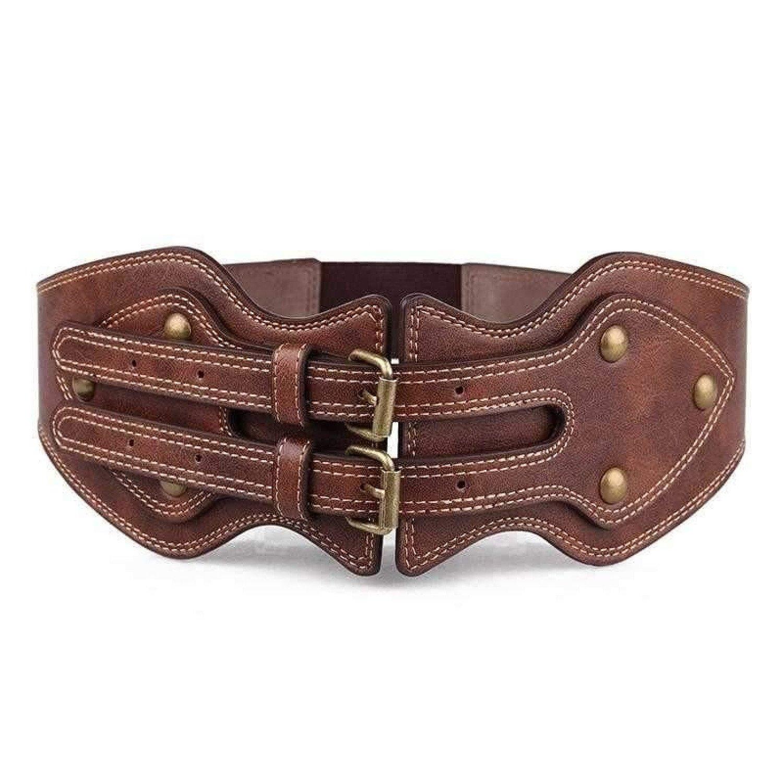 Women Vintage Belt Crazy Horse Leather Pin Buckle Elastic Wide Belt for Women Cummerbund Luxury