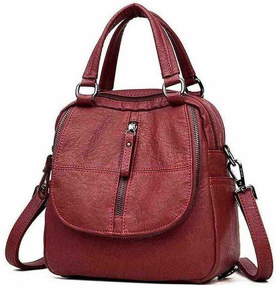Fashion PU Leather Multipurpose Backpack Shoulder Handbag Shoulder Bag