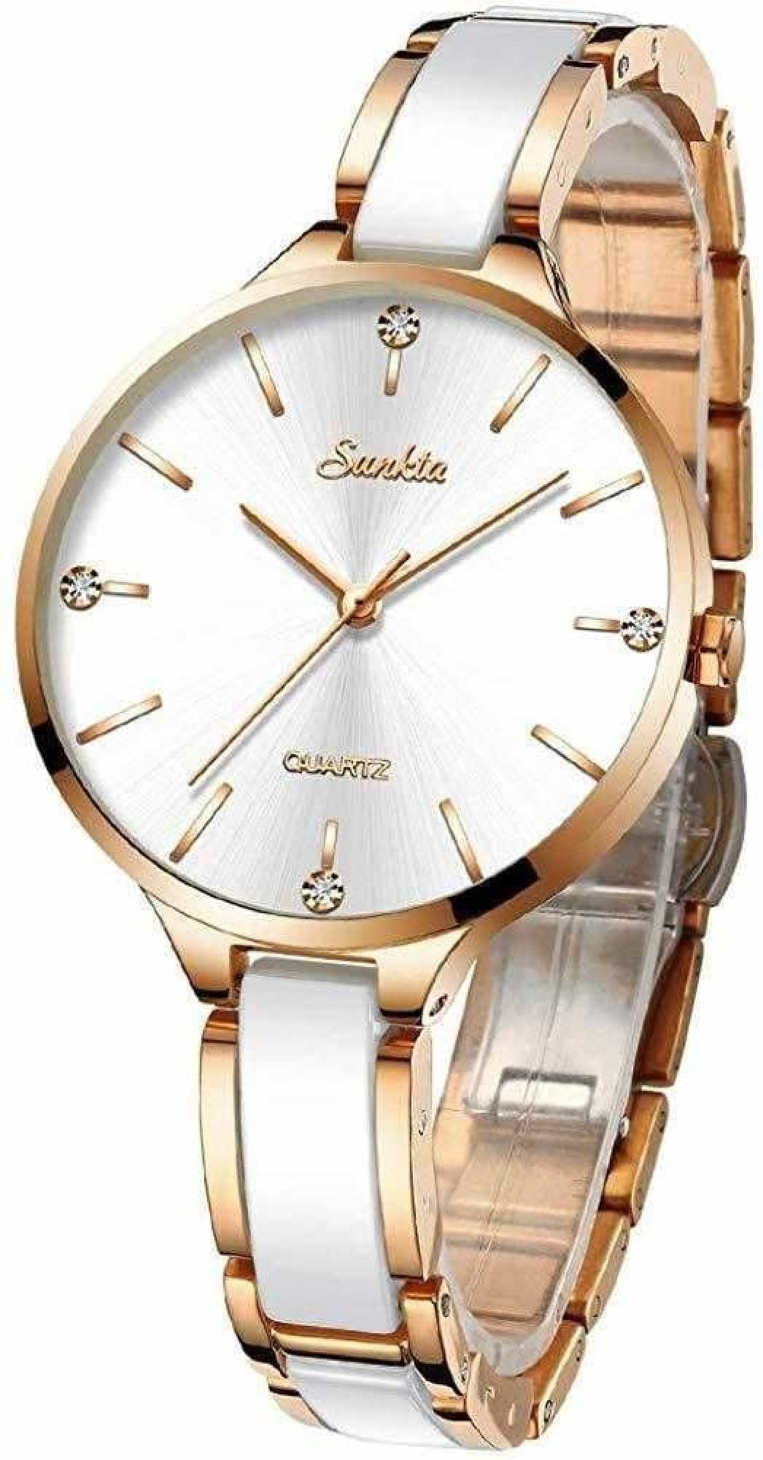 SUNKTA Womens Watches Waterproof Analogue Quartz Rose Gold Ceramics Wrist Watch Ladies Fashion Watch