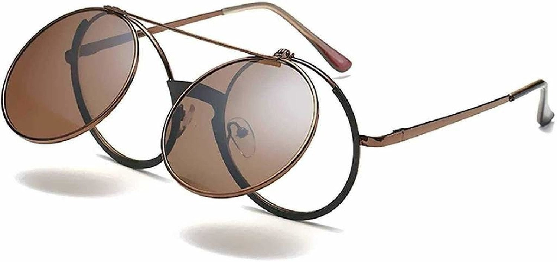 Small Round Sunglasses Men's Women Steampunk Retro Flip Up