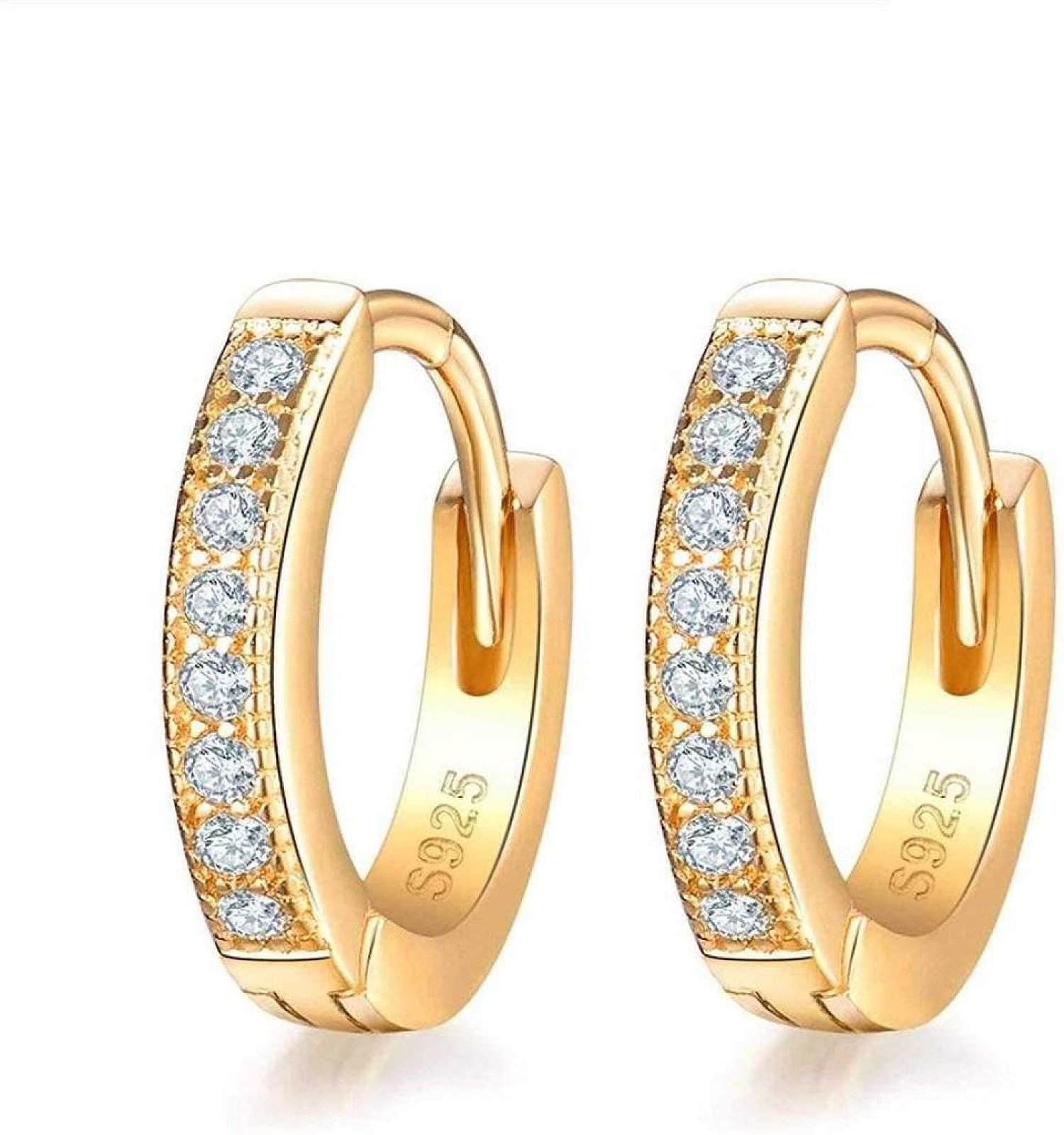 SNORSO 925 Sterling Silver Small Hoop Earrings for Women Girls with AAA Cubic Zirconia, 13mm Round