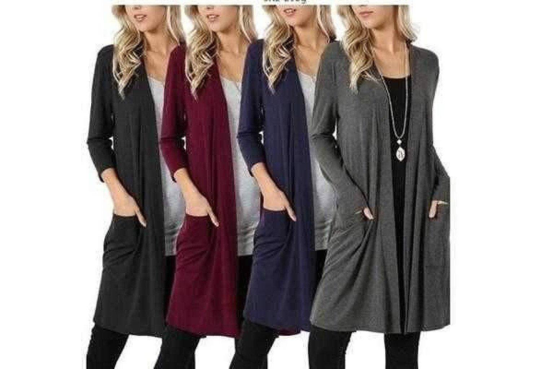 Women Thin Cardigan Simper Fashion Overcoat Long Sleeved Slim Fit Open