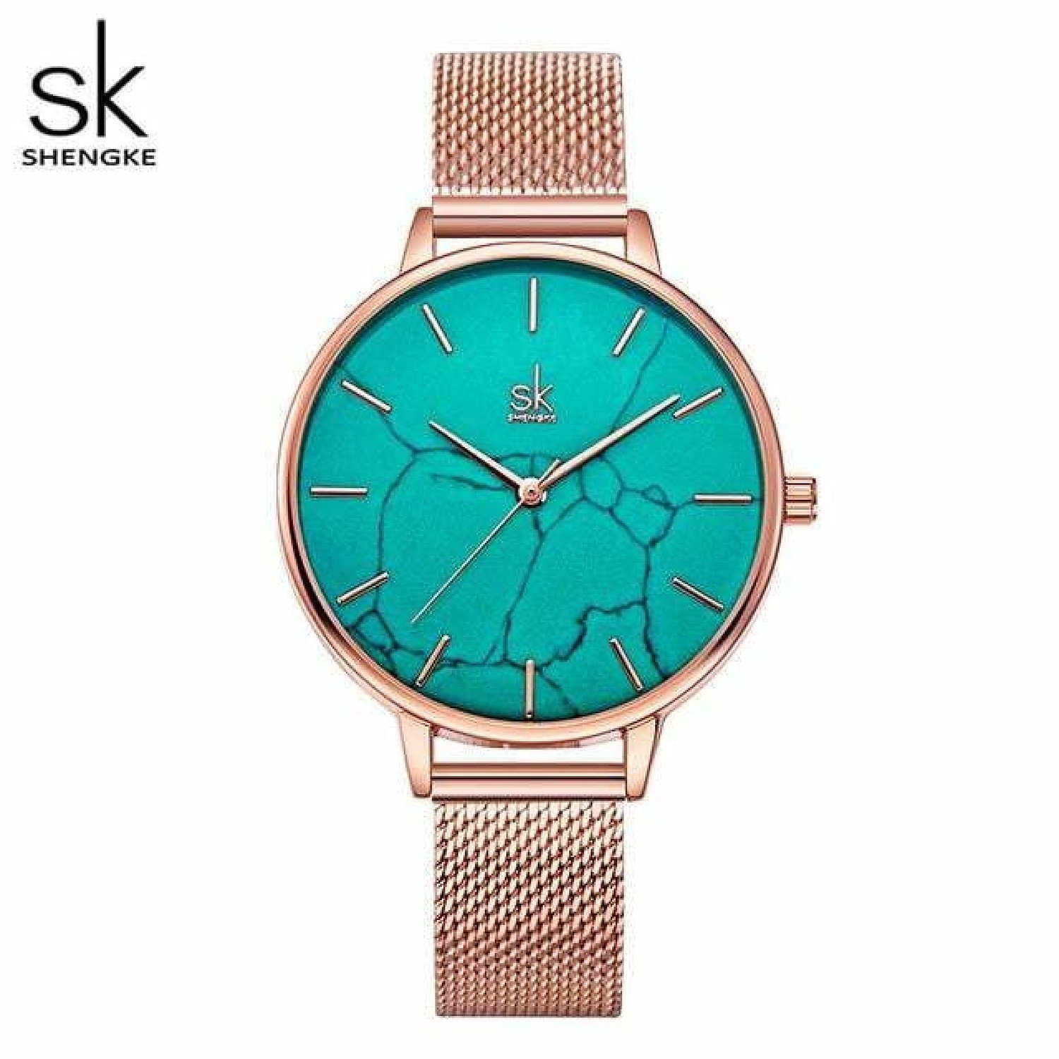 Shengke Emerald Dial Women Watch Rosegold Stainless Steel Band Watch Marble Surface Reloj Mujer New