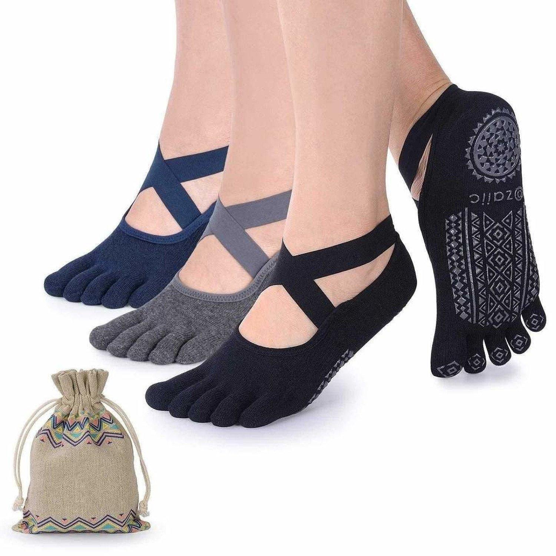 Yoga Socks for Women with Grips, Non-Slip Five Toe Socks