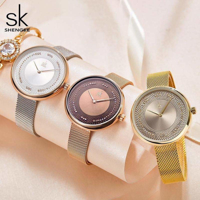 Shengke Creative Women Watches 3 Colors Stylish Japanese Quartz Ladies Watch Luxury Stainless Steel