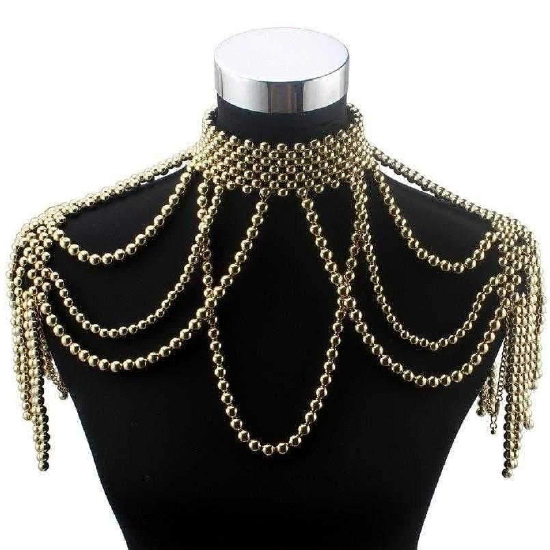Chunky Bead Pendant Choker Long Statement Necklace for Women Fashion