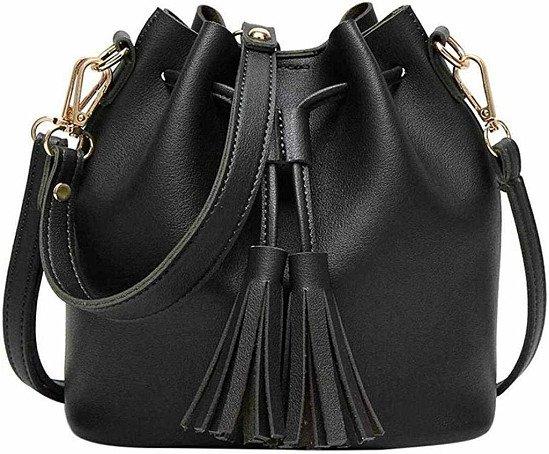 Kanpola Fashion Women Leather Handbag Crossbody Shoulder Messenger Tassels Bucket Bag Black