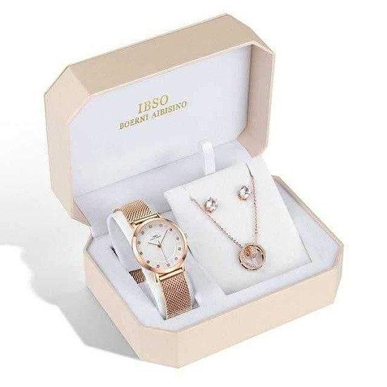 Brand Women Rose Gold Watch Earring Necklace Set Female Jewellery Set