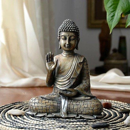 Resin Meditating Buddha - H 23 x W 16.5 x D 9.5cm and H 21.5 x W 17.5 x D 9.5cm