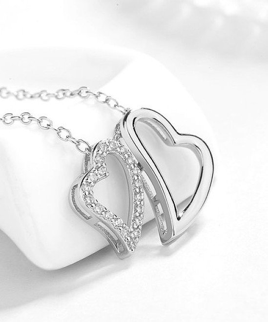 Sterling Silver Double-Heart Necklace With Swarovski® Crystals