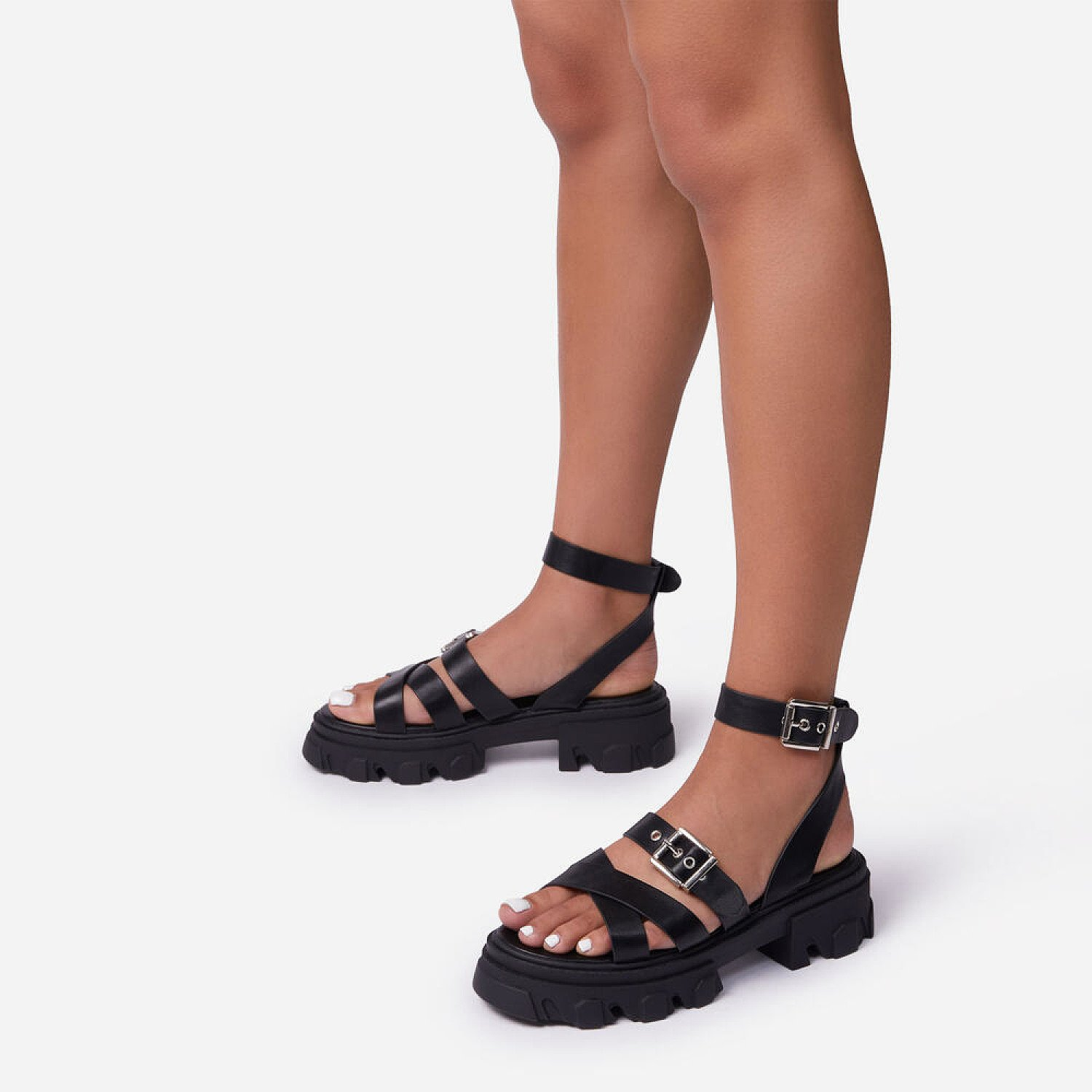 63% Off Mine Woven Buckle Detail Chunky Sole Flat Sandal In Black Faux Leather