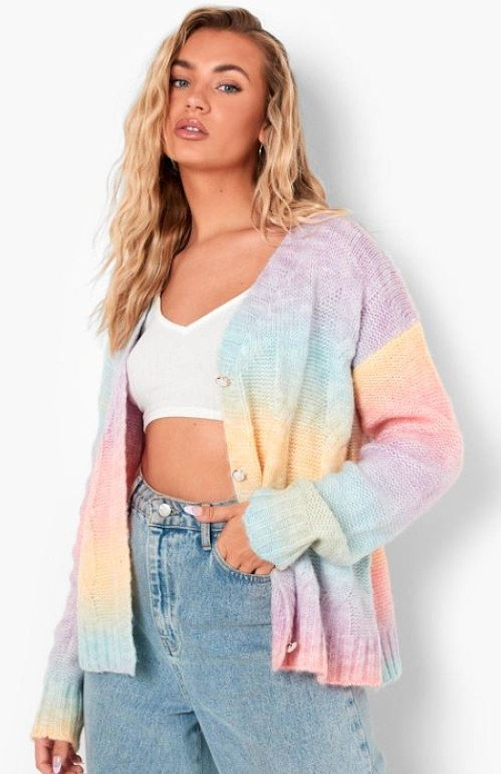 Soft Knit Ombre Cable Cardigan - £30.00!