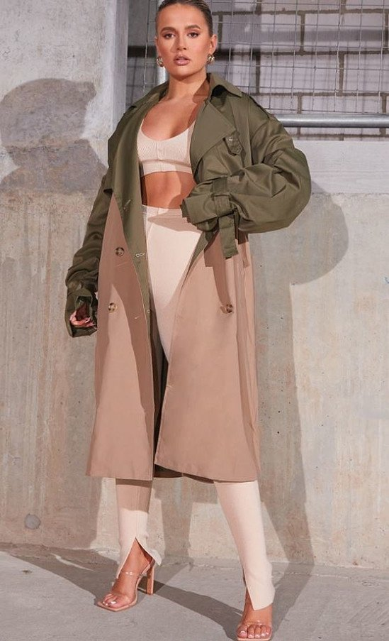 11% OFF - KHAKI CONTRAST OVERSIZED BELTED MIDI TRENCH!