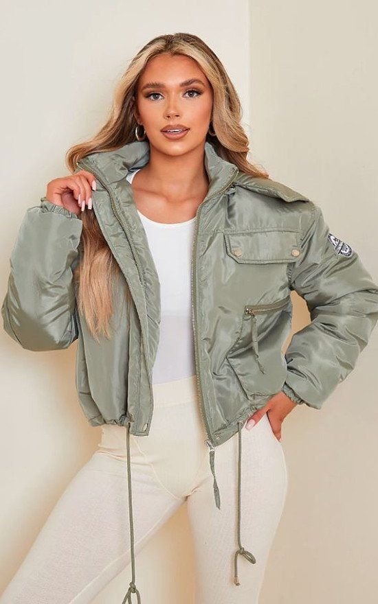 12% OFF - PRETTYLITTLETHING RECYCLED KHAKI CROPPED REMOVABLE FAUX FUR HOODED PARKA!