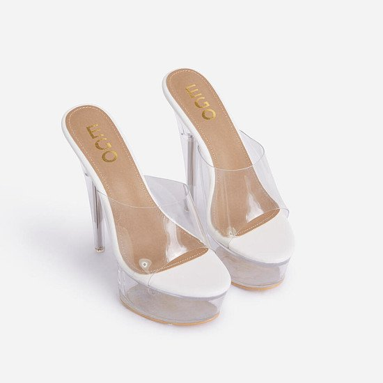 70% Off NYX Peep Toe Clear Perspex Platform Heel Mule In White Faux Leather