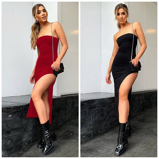 Fashion sexy slit bag hip dress