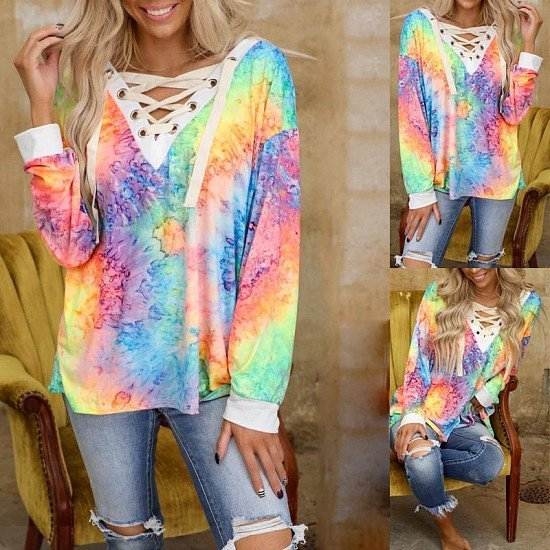 Tie-Dye Printed Long-Sleeved V-Neck Tie Casual T-Shirt Top