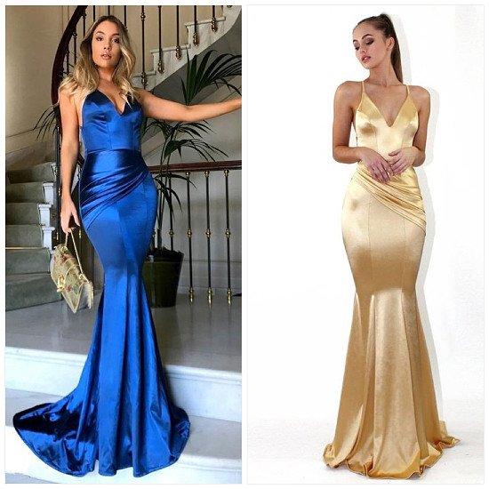 Fashion Sexy Deep V Suspender Solid Color Dress