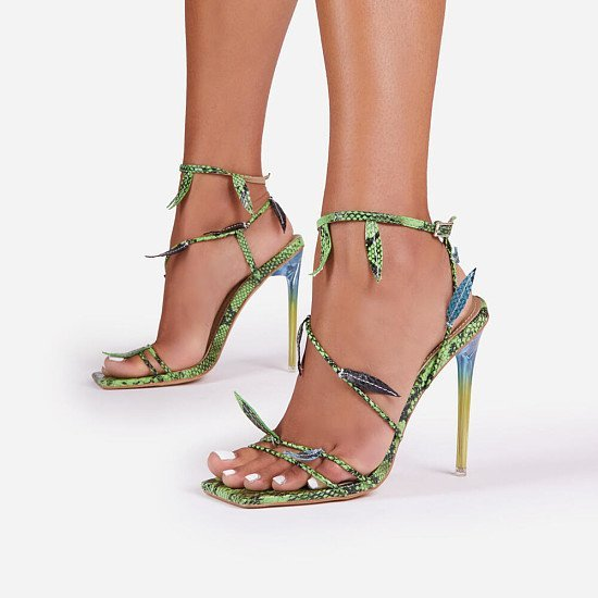 50% Off Whisper Leaf Detail Square Toe Perspex Heel In Green Snake Print Faux Leather