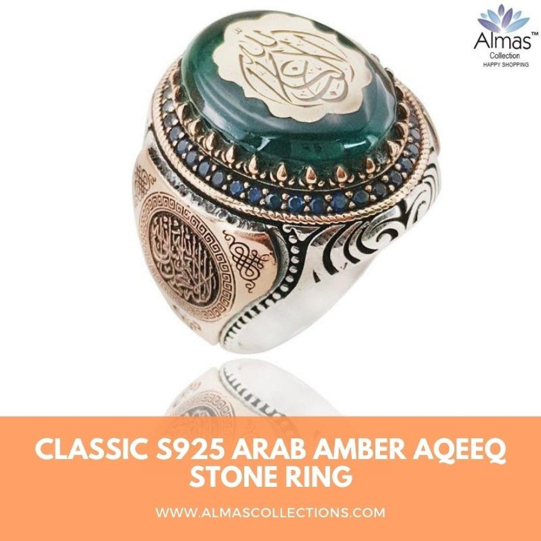 Classic S925 Arab Amber Aqeeq Stone Ring