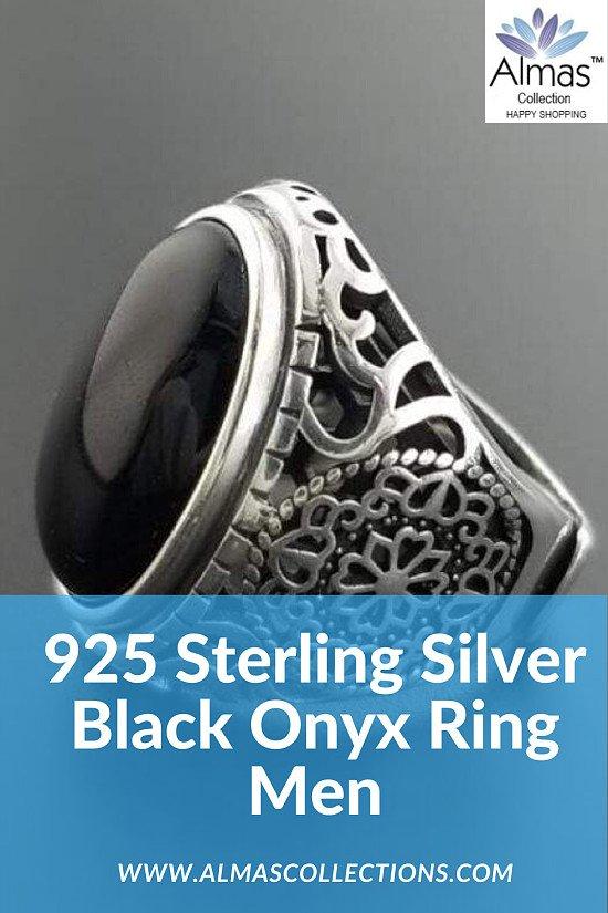 925 Sterling Silver Black Onyx Ring for Men