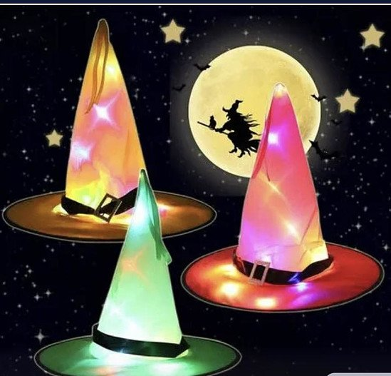 HALLOWEEN  LED WITCHES HATS
