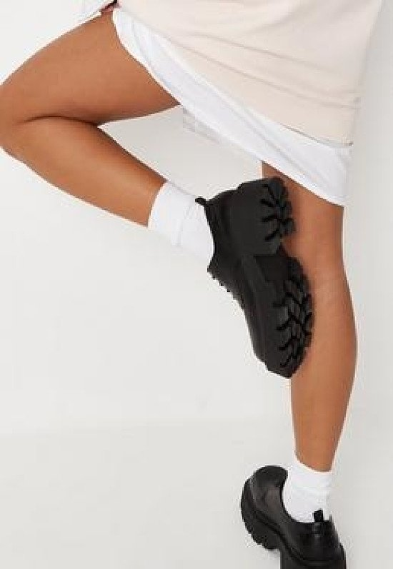 black chunky faux leather shoes