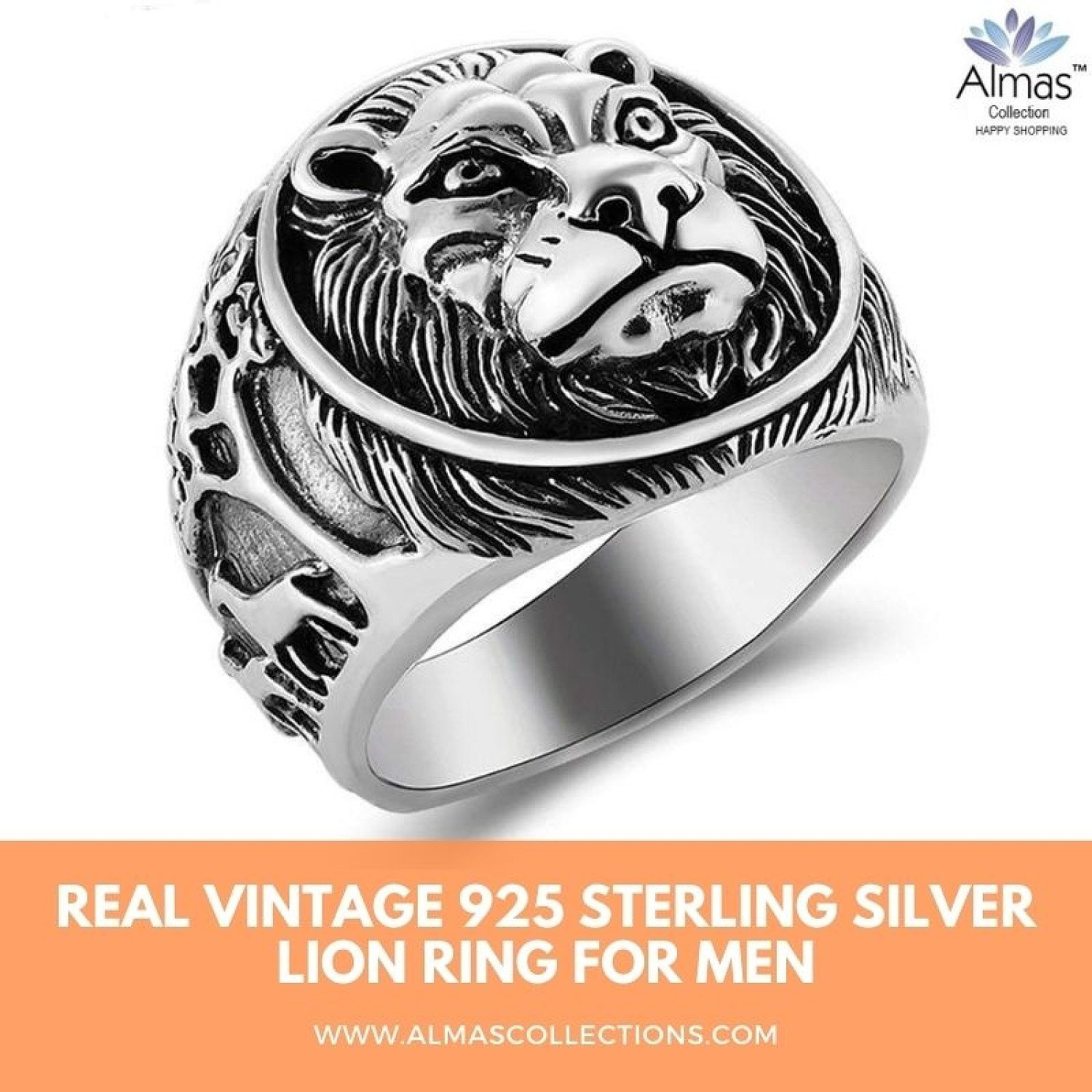 Real Vintage 925 Sterling Silver Lion Ring for Men by Almas Collections
