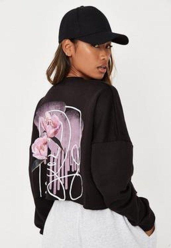 black missguided script graphic back fleeceback cropped sweatshirt
